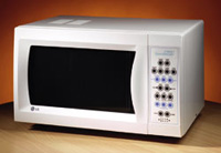 Talking microwave oven with digital controls and a white finish