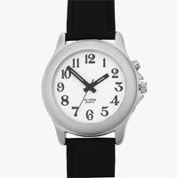 Mens one button talking watch. Chrome case and black leather strap.