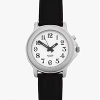 One button ladies talking watch. Chrome case and black leather strap.