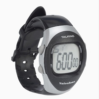 Small black/silver talking watch with stopwatch and plastic strap