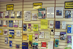 Photograph of some of the ihnformational leaflets available at the Resource Centre